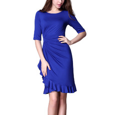 Discount Sheath Mini/ Short Asymmetrical Pleated Satin Mother Dresses with Half Sleeves