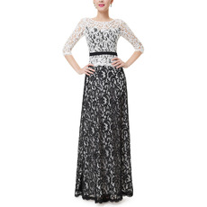 Couture Lace Black and White Mother Dresses with Half Sleeves/ Two Toned Mother of The Bride Dresses