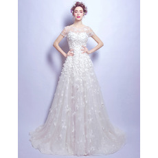 Modern and Romantic Sweep Train Organza Tulle Wedding Dresses with Short Sleeves and Petal Detailing