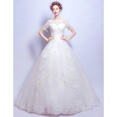 Gorgeous Crystal Beading Appliques Tulle Wedding Dresses with Short Sleeves and Back Bows