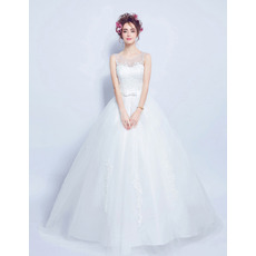 Beautiful Ball Gown Sleeveless Full Length Appliques Satin Tulle Wedding Dresses