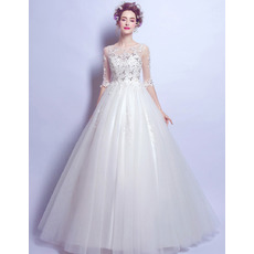 Attractive Ball Gown Floor Length Organza Wedding Dresses with Half Sleeves and Crystal Detailing