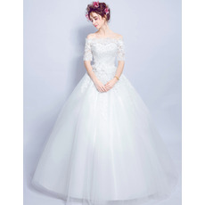 Junoesque Romantic Ball Gown Off-the-shoulder Long Wedding Dresses with Half Sleeves and Beaded Appliques