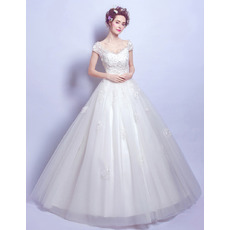 Glamorous Elegance Off-the-shoulder Floor Length Wedding Dresses with Cap Sleeves and Beaded Appliques