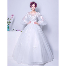 Unique Ball Gown Floor Length Appliques Tulle Wedding Dress with Long Bubble Sleeves and Petal Detailing