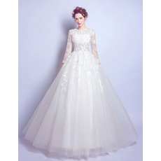 Romantic Floral Applique Ball Gown Tulle Wedding Dresses with Long Sleeves