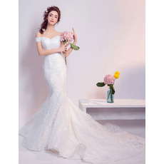 Glamorous Off-the-shoulder Court Train Lace Wedding Dresses with Mermaid Skirt