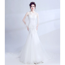Modern and Romantic Mermaid Chapel Train Wedding Dress with Tulle Shawl and Beaded Appliques