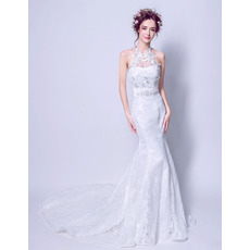 Ultra-feminine Mermaid Halter Sleeveless Sweep Train Beaded Lace Wedding Dresses