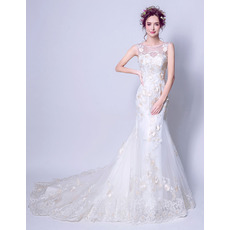 Romantic Sheath Court Train Satin Organza Applique Beaded Wedding Dresses with Hand-made Flowers