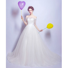 Princess Ball Gown Off-the-shoulder Tulle Wedding Dresses with Half Sleeves