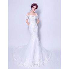 Fashionable Sexy Mermaid Off-the-shoulder Long Length Beaded Appliques Wedding Dress with Short Sleeves