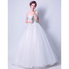 Modern and Romantic Ball Gown Off-the-shoulder Full Length Wedding Dresses with Beaded