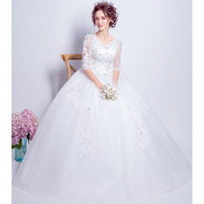 Luxury Beading Appliques Ball Gown Tulle Wedding Dresses with Half Sleeves