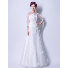 Romantic & Modern Full Length Wedding Dresses with 3/4 Long Sleeves and Floral Appliques