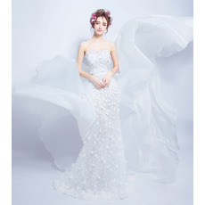 Romantic Sheath Sweetheart Applique Wedding Dress with Court Train