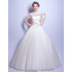 Classic Appliques Ball Gown High Neckline Tulle Wedding Dresses with Short Sleeves