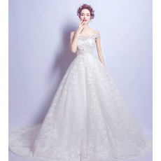 Glamorous A-Line Off-the-shoulder Court Train Beaded Lace Wedding Dresses