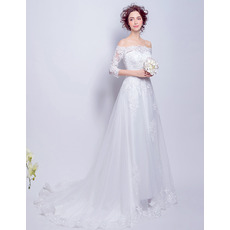 Feminine Off-the-shoulder Long Lace Appliqued Tulle Wedding Dress with Half Sleeves