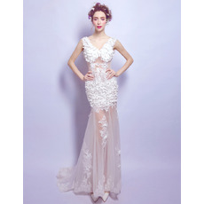 Sexy Alluring sheer V-Neck Long Applique Tulle Wedding Dress with Petal Detailing