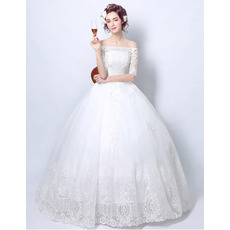 Discount Elegant Ball Gown Off-the-shoulder Lace Appliques Tulle Wedding Dresses with Half Sleeves