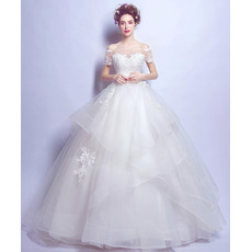Elegance Ball Gown Off-the-shoulder Beaded Appliques Tulle Wedding Dresses with Short Sleeves and Exquisitely Layered