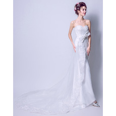 Delicate Fashionable Strapless Sweetheart Sleeveless Satin Beaded Appliques Wedding Dresses with Split Front
