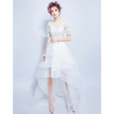 Fashionable High-Low Organza Wedding Dresses with Short Sleeves and Layered Skirt