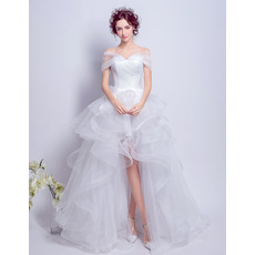 Fashionable Off-the-shoulder High-Low Tulle Wedding Dresses with Exquisitely Layered Skirt