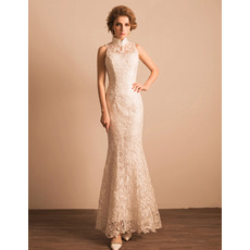 Ultra-feminine Sheath Mandarin Collar Long Length Lace Reception Wedding Dress
