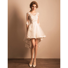 Fashionable Beaded Appliques High-Low Short Petite Wedding Dresses with Half Sleeves and Satin-trimmed Hem