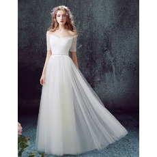 Summer Off-the-shoulder Long Tulle Beach Wedding Dresses with Short Sleeves and Beaded Waist