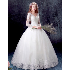 Alluring Appliques Beading Ball Gown V-Neck Tulle Wedding Dresses with Long Sleeves