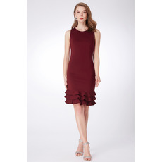 Inexpensive Sheath Sleeveless Mini/ Short Satin Bridesmaid Dresses