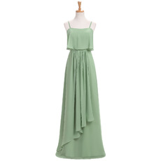 Elegant Floor Length Chiffon Bridesmaid Dresses with Spaghetti Straps