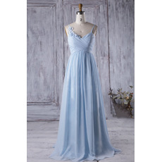 2018 Style Spaghetti Straps Floor Length Chiffon Bridesmaid Dresses