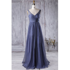 Affordable Pleated Bust and Skirt Full Length Chiffon Bridesmaid Dresses