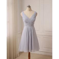 Affordable V-Neck Sleeveless Knee Length Chiffon Bridesmaid Dresses