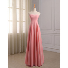 Elegant A-Line Strapless Floor Length Chiffon Bridesmaid Dresses