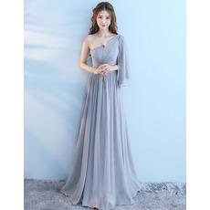 2018 New One Shoulder Floor Length Chiffon Bridesmaid Dresses