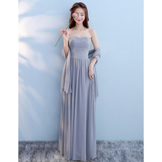 Affordable Strapless Pleated Chiffon Bridesmaid Dresses with Shawl