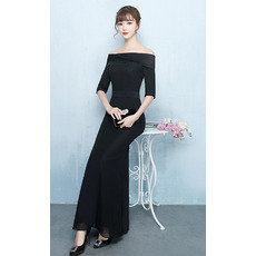 Custom Sheath Off-the-shoulder Chiffon Prom Evening Dress with Half Sleeves