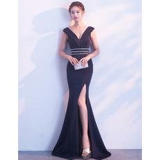 Affordable Sheath V-Neck Floor Length Satin Prom Evening Dress with Slit
