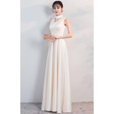 Custom Mock Neck Sleeveless Floor Length Satin Prom Evening Dresses