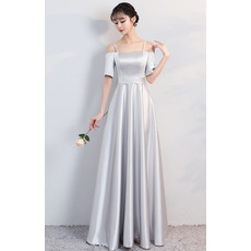 Discount Spaghetti Straps Grey Taffeta Prom Evening Dresses with Short Sleeves