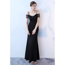Sexy Spaghetti Straps Long Black Prom Evening Dresses with Short Lace Sleeves
