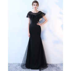 Ruffled Illusion Neckline Black Prom Evening Dresses with Short Sleeves