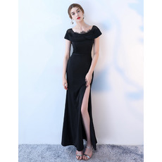 Custom Sheath Short Sleeves Black Satin Prom Evening Dress with Slit Skirt