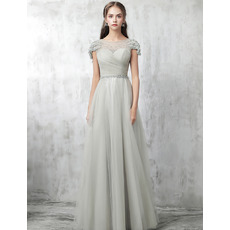 Perfect Bateau Neckline Tulle Prom Evening Dresses with Beaded Cap Sleeves and Waist