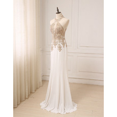 Affordable Sheath Halter Floor Length Chiffon Embroidery Prom Evening Dress